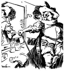 A Parigi, Théatre de la Porte-St. Martin, Coquelin fu il primo Cyrano, nel 1897 (qui, nel suo camerino, ripreso dalla matita di Abel Faivre)