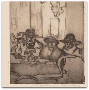 """Carlo Cainelli (1896-1925) """"Interno di caffè"""", 1920 - Acquaforte e acquatinta"""