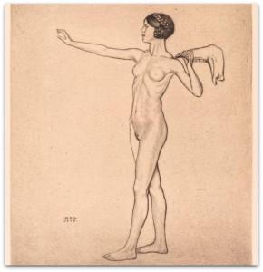 """Guido Balsamo Stella (1882-1941) """"Attitudini di difesa"""" (Amazzone), 1913 - Acquaforte"""