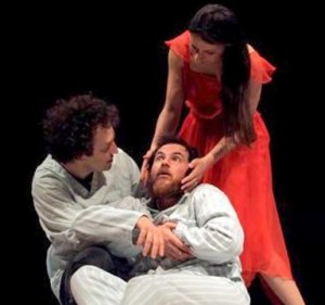 """Milano. Pietro Traldi, Vincenzo Occhionero e Manuela De Meo in una scena di """"Il Vecchio Principe"""", in scena all'Elfo Puccini"""