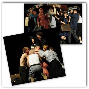 """Milano. Due scene dello spettacolo """"Senza titolo"""", della Compagnia bielorussa  TeatralnY Kvadrat, al Teatro Ringhiera. Drammaturgia, regia, scene e costumi di Anna Sulima."""
