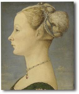 Piero del Pollaiolo: Ritratto di donna di profilo, tempera e olio su tavola, 45,5 x 32,7 cm - Ritratto simbolo del Museo Poldi Pezzoli