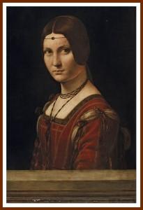 """Ritratto di dama (La Belle Ferronnière) o """"Presunto ritratto di Lucrezia Crivelli"""" (1493-1495 circa) - olio su tavola di noce, 63 ✕ 45 cm (Parigi, Musée du Louvre, Départementdes Peintures, Collezione dell'Imperatore Francesco I)"""