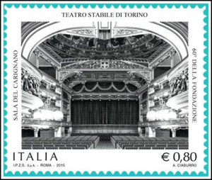 Il francobollo commemorativo per i 60 anni del Teatro Stabile di Torino