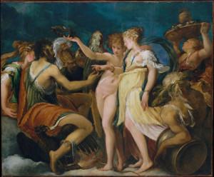 """Andrea Meldola detto Schiavone: """"Nozze tra Cupido e Psiche"""", 1550 ca., tavola incollata"""