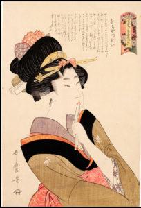 Kitagawa Utamaro, La ragazza precoce, 1802 - Silografia policroma, 39,4 x 26 cm (Honolulu Museum of Art)