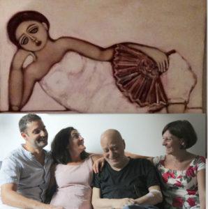 Un quadro di Tommaso Guarino, e gli attori con il padrone di casa