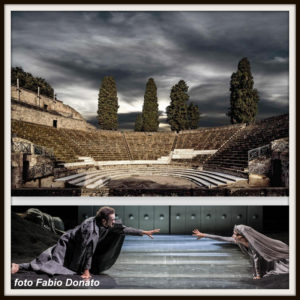 Una suggestva panoramica dell'antico teatro pompeiano del II sec. a.C.; e una scena dell'Orestea, con la regia di Luca De Fusco.