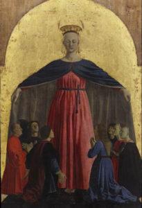 """Pala centrale del polittico della """"Madonna della Misericordia"""" di Piero della Francesca."""